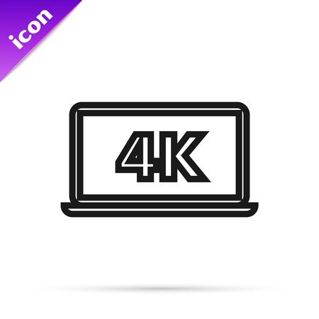 Black line Laptop screen with 4k video technology icon isolated on white background. Vector Illustration
