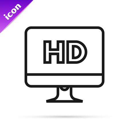 Black line Computer PC monitor display with HD video technology icon isolated on white background. Vector Illustration Illusztráció