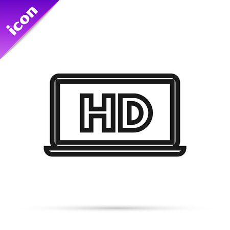 Black line Laptop screen with HD video technology icon isolated on white background. Vector Illustration