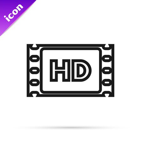 Black line 4k movie, tape, frame icon isolated on white background. Vector Illustration Illustration