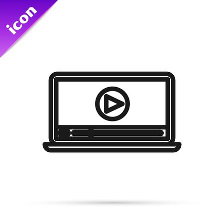 Black line Online play video icon isolated on white background. Laptop and film strip with play sign. Vector Illustration
