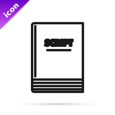 Black line Scenario icon isolated on white background. Script reading concept for art project, films, theaters. Vector Illustration