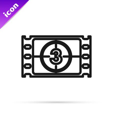 Black line Play Video icon isolated on white background. Film strip with start sign. Vector Illustration Illustration