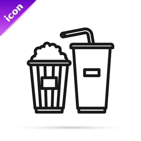 Black line Popcorn in cardboard box and paper glass with drinking straw and water icon isolated on white background. Soda drink glass. Vector Illustration Ilustração