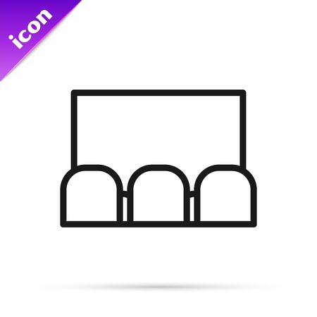 Black line Cinema auditorium with screen and seats icon isolated on white background. Vector Illustration