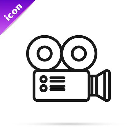 Black line Cinema camera icon isolated on white background. Video camera. Movie sign. Film projector. Vector Illustration
