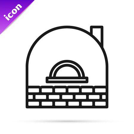 Black line Brick stove icon isolated on white background. Brick fireplace, masonry stove, stone oven icon. Vector Illustration Vector Illustratie