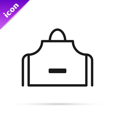 Black line Kitchen apron icon isolated on white background. Chef uniform for cooking. Vector Illustration