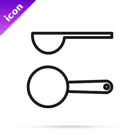 Black line Measuring spoon icon isolated on white background. Vector Illustration
