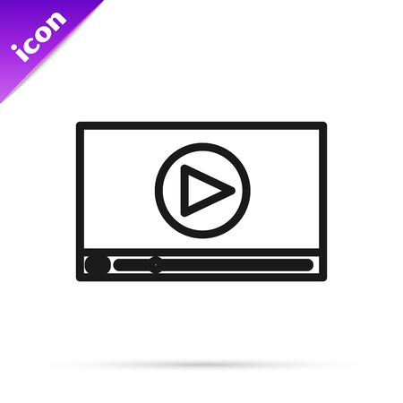 Black line Online play video icon isolated on white background. Film strip with play sign. Vector Illustration Illustration