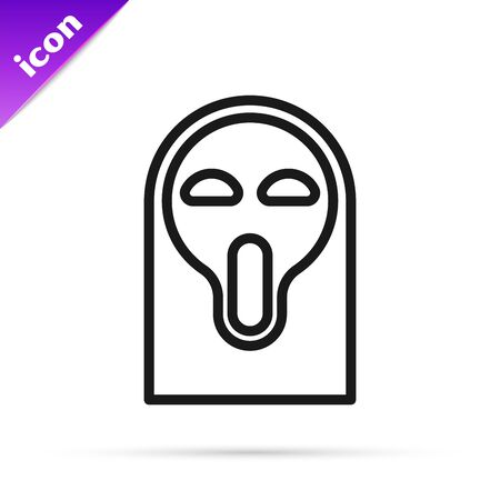 Black line Funny and scary ghost mask for Halloween icon isolated on white background. Happy Halloween party. Vector Illustration