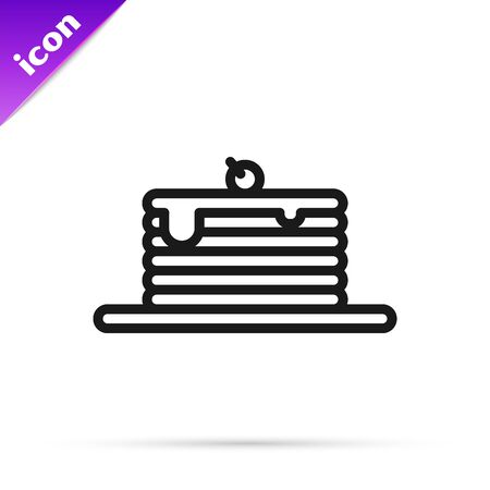 Black line Stack of pancakes icon isolated on white background. Baking with syrup and cherry. Breakfast concept. Vector Illustration
