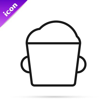 Black line Bakery bowl dough icon isolated on white background. Vector Illustration