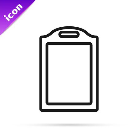 Black line Cutting board icon isolated on white background. Chopping Board symbol. Vector Illustration