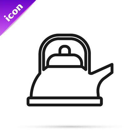 Black line Kettle with handle icon isolated on white background. Teapot icon. Vector Illustration