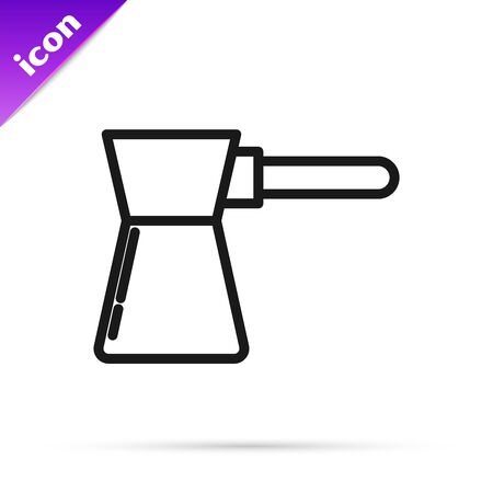Black line Coffee turk icon isolated on white background. Vector Illustration