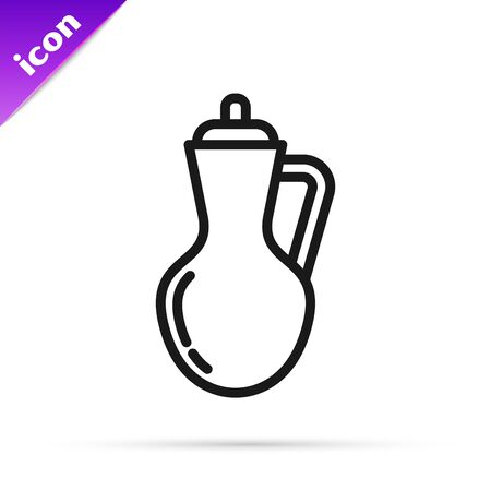Black line Bottle of olive oil icon isolated on white background. Jug with olive oil icon. Vector Illustration Illusztráció