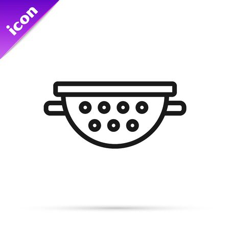 Black line Kitchen colander icon isolated on white background. Cooking utensil. Cutlery sign. Vector Illustration Illusztráció