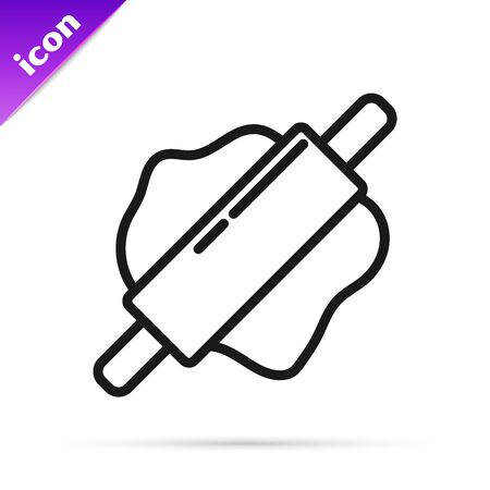 Black line Rolling pin icon isolated on white background. Vector Illustration