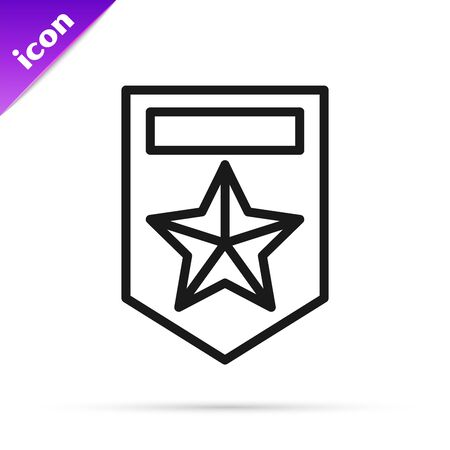Black line Chevron icon isolated on white background. Military badge sign. Vector Illustration