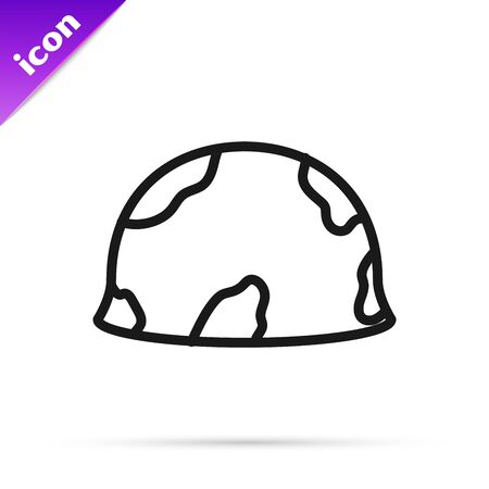 Black line Military helmet icon isolated on white background. Army hat symbol of defense and protect. Protective hat. Vector Illustration Stok Fotoğraf - 133795561