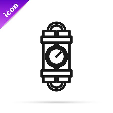 Black line Detonate dynamite bomb stick and timer clock icon isolated on white background. Time bomb - explosion danger concept. Vector Illustration