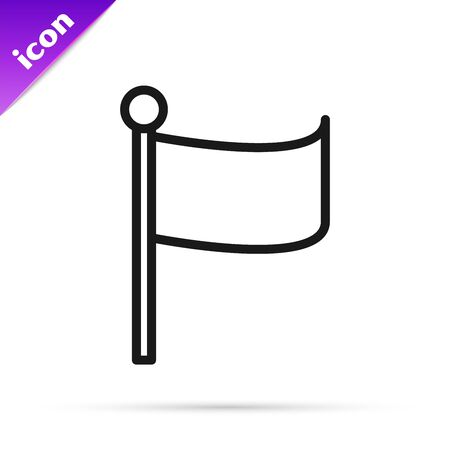 Black line Flag icon isolated on white background. Location marker symbol. Vector Illustration  イラスト・ベクター素材