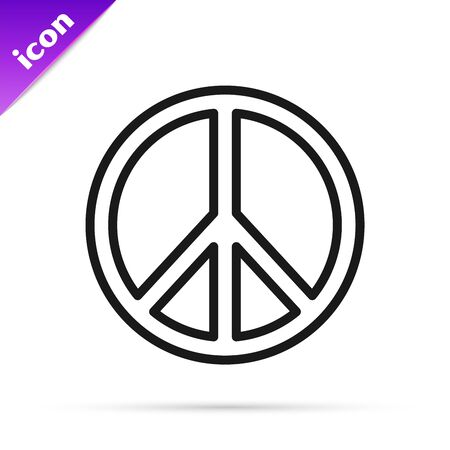 Black line Peace icon isolated on white background. Hippie symbol of peace. Vector Illustration