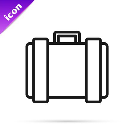 Black line Military ammunition box with some ammo bullets icon isolated on white background. Vector Illustration