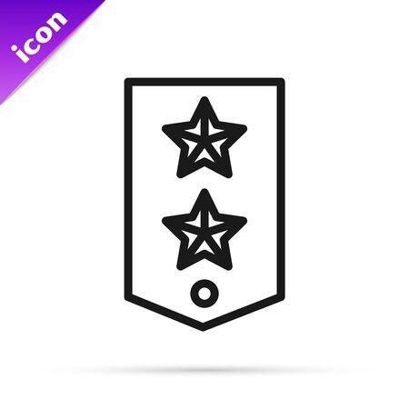 Black line Chevron icon isolated on white background. Military badge sign. Vector Illustration Stok Fotoğraf - 133796138