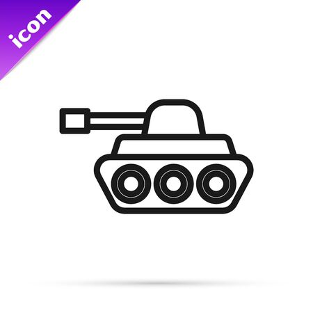 Black line Military tank icon isolated on white background. Vector Illustration Stok Fotoğraf - 133796145
