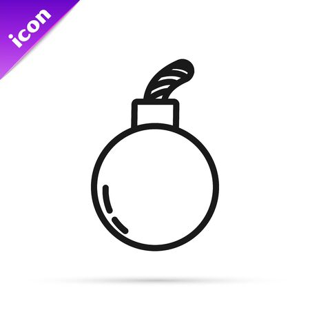 Black line Bomb ready to explode icon isolated on white background. Vector Illustration