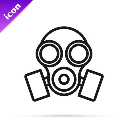 Black line Gas mask icon isolated on white background. Respirator sign. Vector Illustration Banque d'images - 133796163