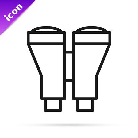 Black line Binoculars icon isolated on white background. Find software sign. Spy equipment symbol. Vector Illustration