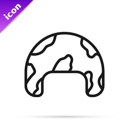 Black line Military helmet icon isolated on white background. Army hat symbol of defense and protect. Protective hat. Vector Illustration Stok Fotoğraf - 133796170