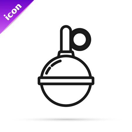 Black line Hand grenade icon isolated on white background. Bomb explosion. Vector Illustration