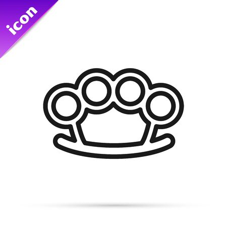 Black line Brass knuckles icon isolated on white background. Vector Illustration Illusztráció