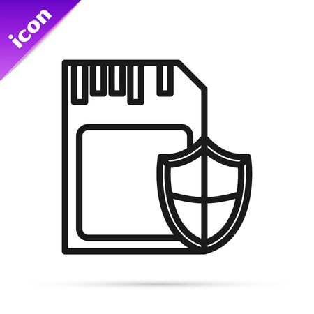 Black line SD card and shield icon isolated on white background. Memory card. Adapter icon. Security, safety, protection, privacy concept. Vector Illustration