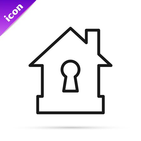 Black line House under protection icon isolated on white background. Protection, safety, security, protect, defense concept. Vector Illustration