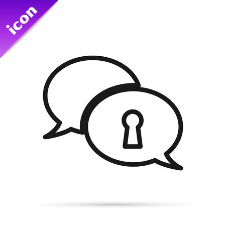 Black line Protection of personal data icon isolated on white background. Speech bubble and key. Vector Illustration