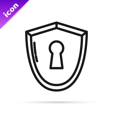 Black line Shield with keyhole icon isolated on white background. Protection, security concept. Safety badge icon. Privacy banner. Defense tag. Vector Illustration