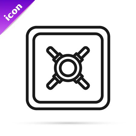 Black line Safe icon isolated on white background. The door safe a bank vault with a combination lock. Reliable Data Protection. Vector Illustration