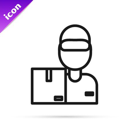 Black line Delivery man with cardboard boxes icon isolated on white background. Door to door delivery by courier. Vector Illustration Ilustracja