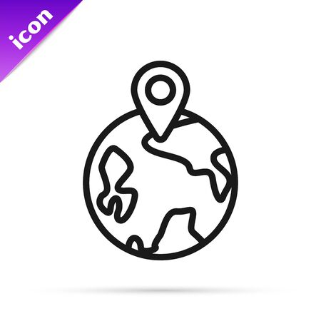 Black line Worldwide icon isolated on white background. Pin on globe. Vector Illustration