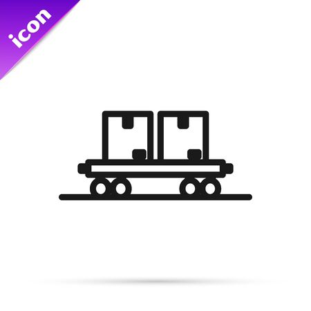 Black line Railway carriage icon isolated on white background. Vector Illustration