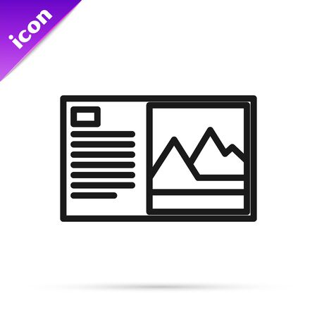 Black line Postcard icon isolated on white background. Vector Illustration