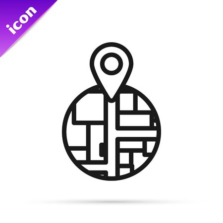 Black line Placeholder on map paper in perspective icon isolated on white background. Vector Illustration  イラスト・ベクター素材