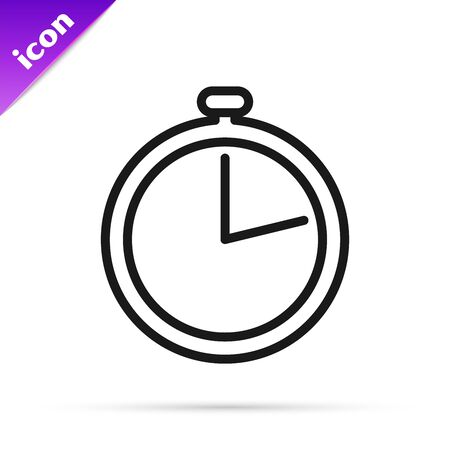 Black line Stopwatch icon isolated on white background. Time timer sign. Vector Illustration
