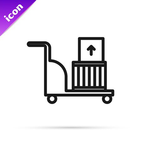 Black line Electric hand truck and boxes icon isolated on white background. Dolly symbol. Vector Illustration