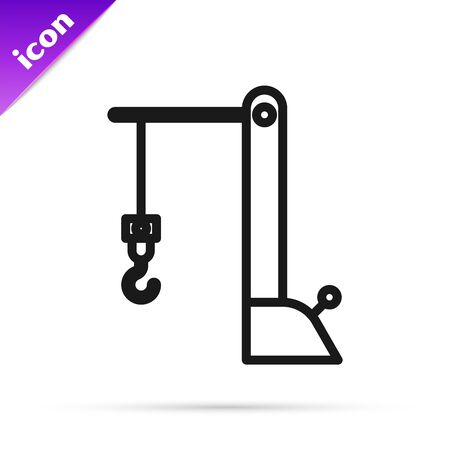 Black line Harbor port crane icon isolated on white background. Cargo crane tower. Vector Illustration  イラスト・ベクター素材
